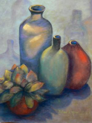 Bottles and Succulent- SOLD